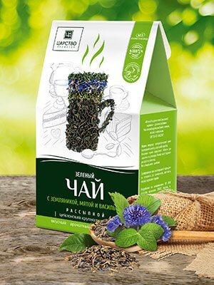 Зеленый чай с земляникой, мятой и васильком